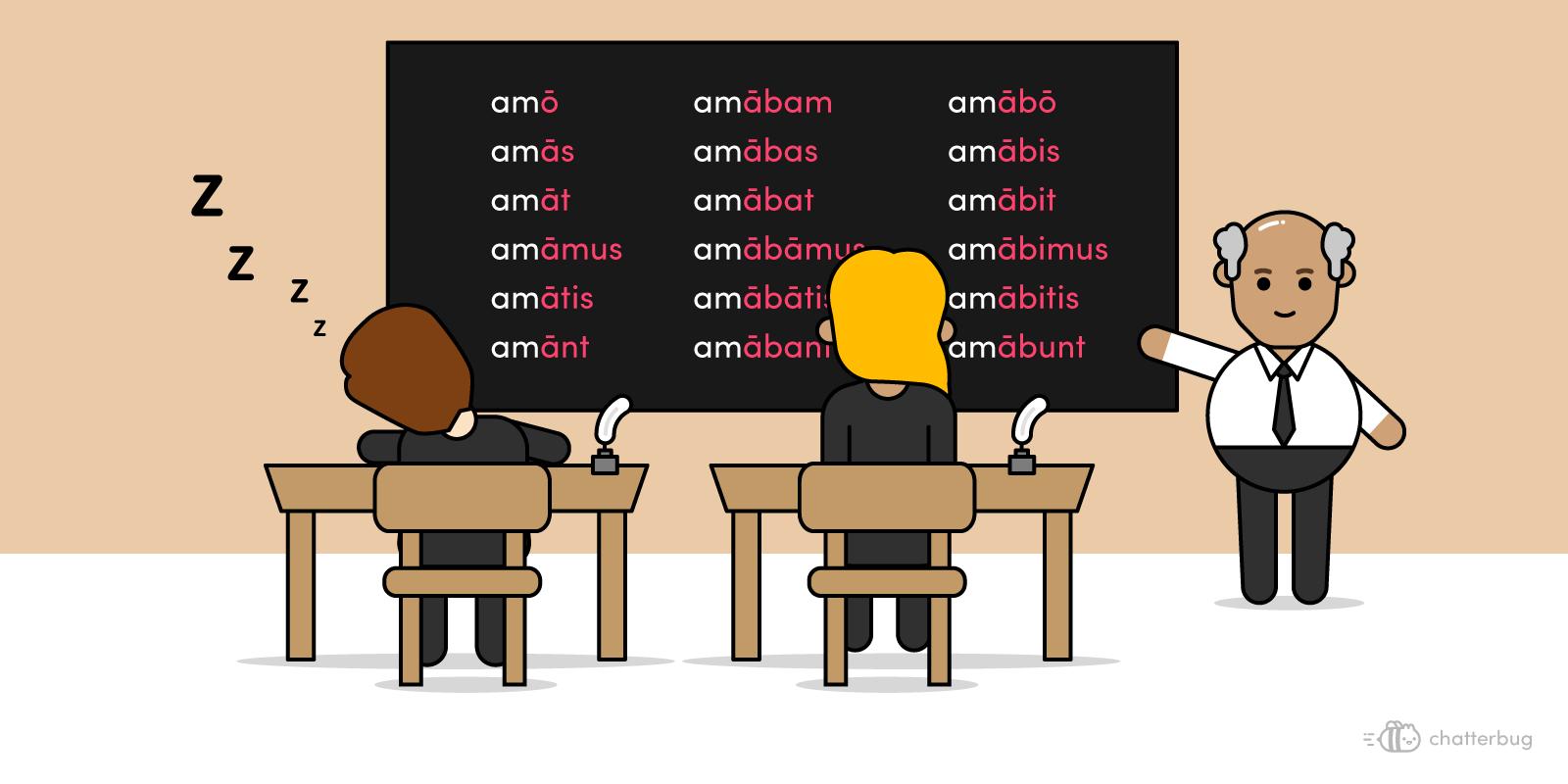 old teacher teaching grammar on a blackboard, boring his students to sleep