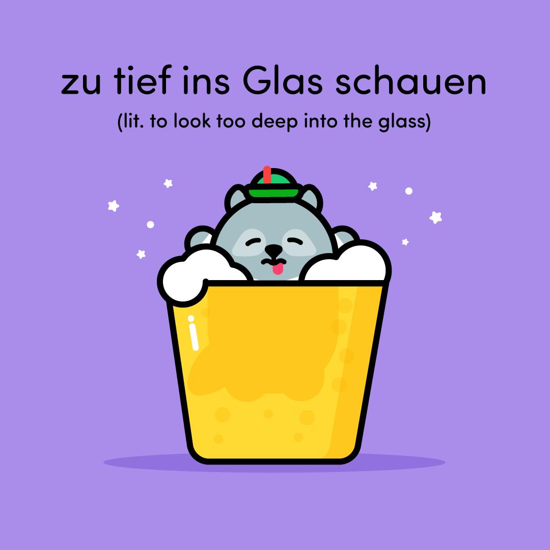 Otto drunk in glass