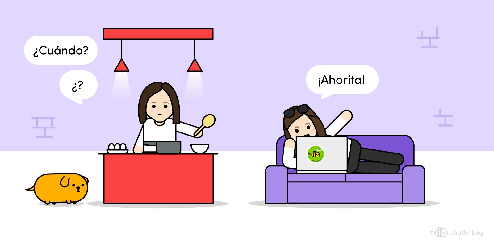 Ahorita, an elusive temporal concept image